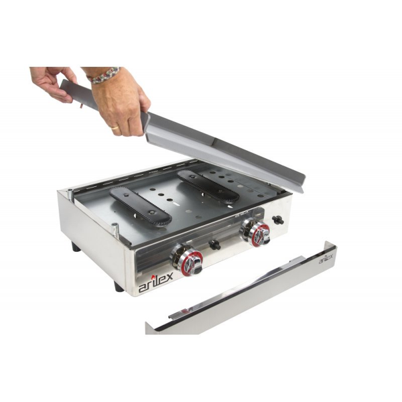 Plancha a Gas Profesional en Acero Laminado de 6 mm de 1210x457x240 mm