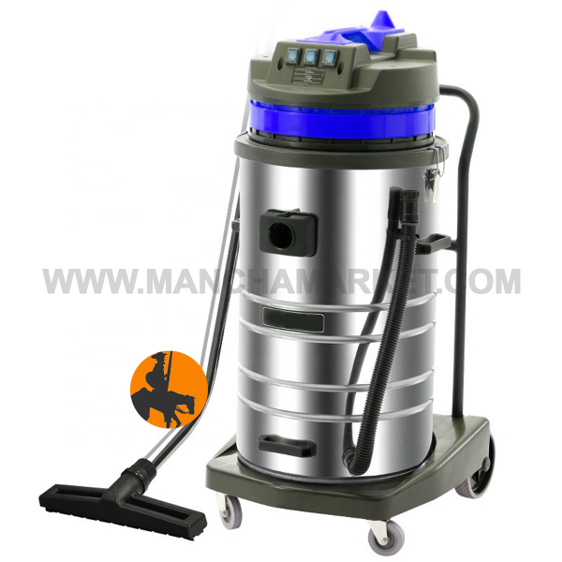 Aspirador Profesional Inox 80L Basc./3Mot. Polvo y Agua