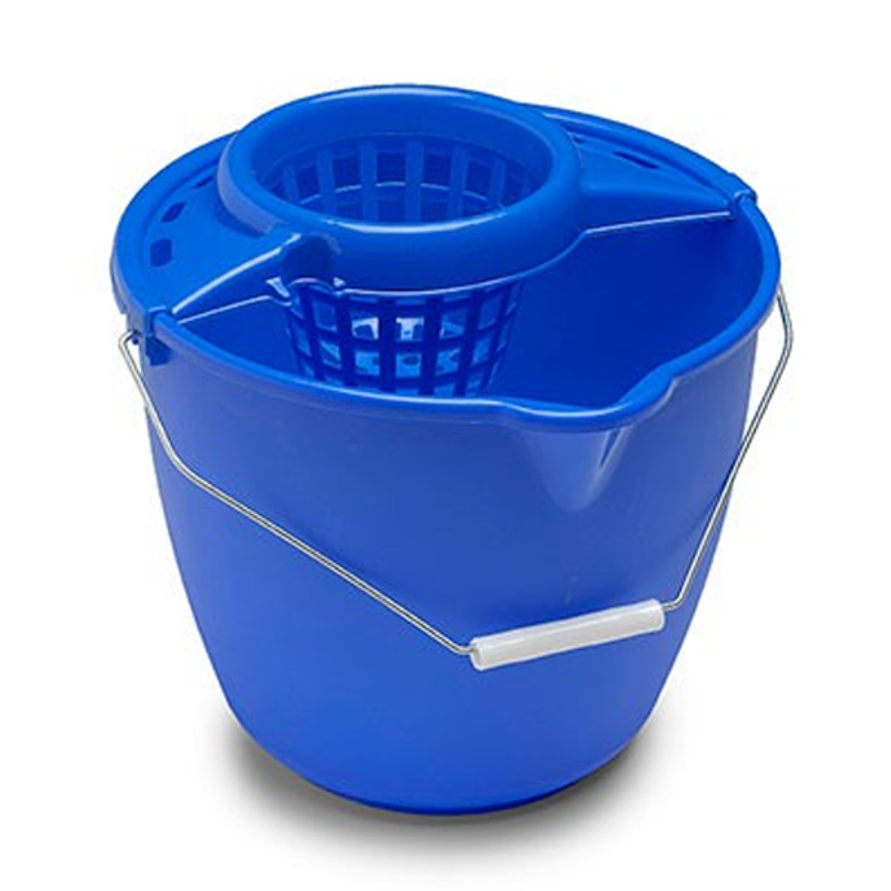 Cubo Redondo Con Escurridor 11 Litros Azul