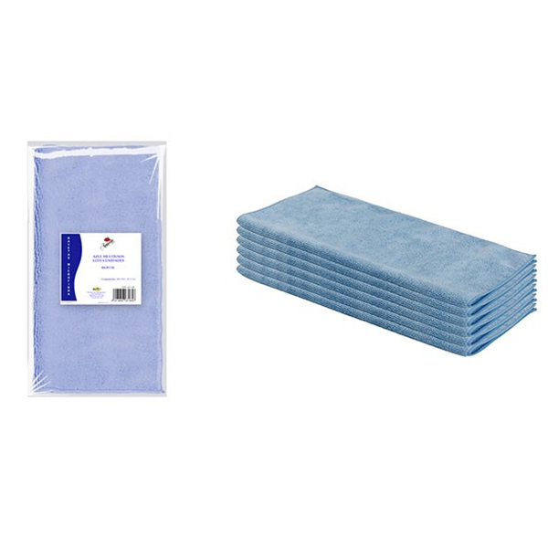 Bayeta Microfibra Multiusos 40X30 Centímetros 280 Gramos/M2, Lote 6 Unidades azul